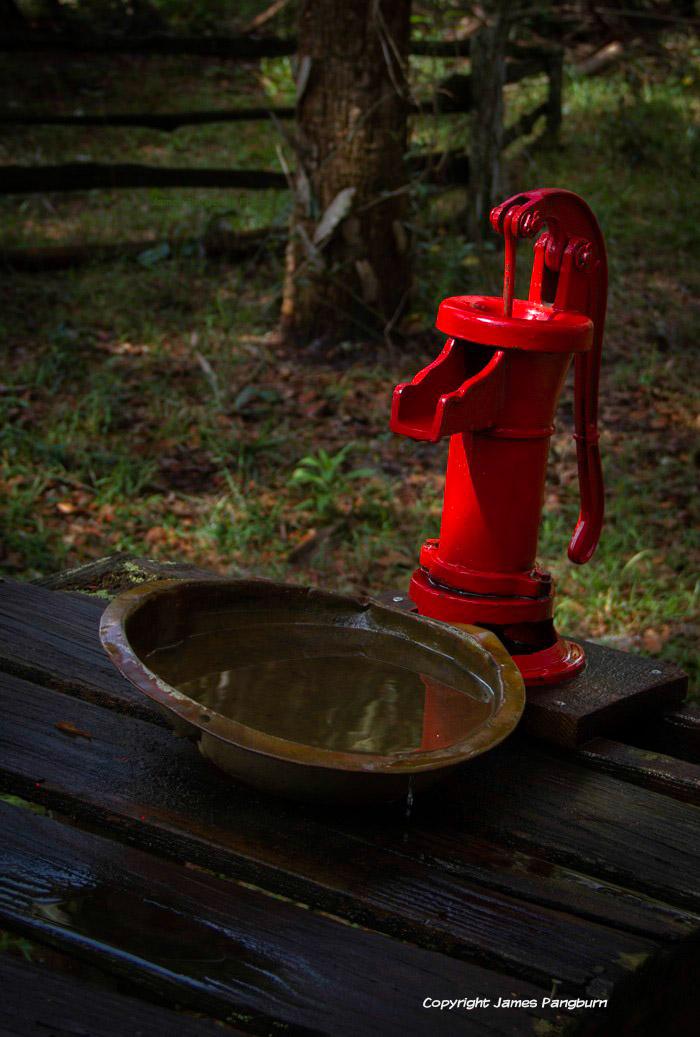 red hand pump