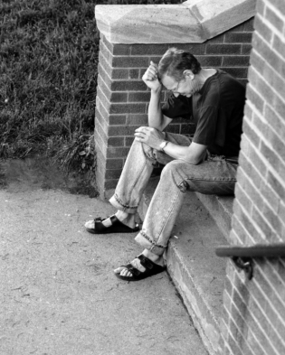 seated man in despair