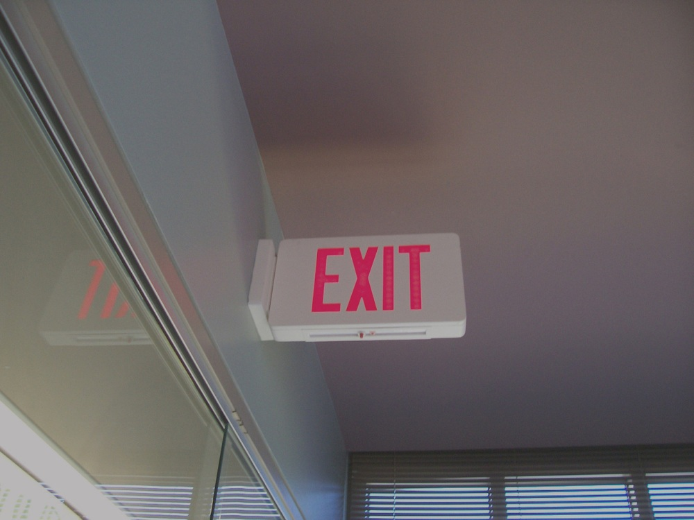 overhead exit sign