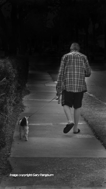 man with dog on dark path
