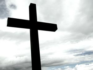 black cross on white sky