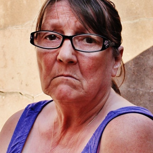 older woman sad