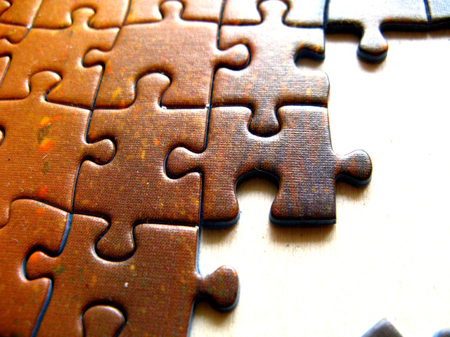 closeup of incomplete puzzle