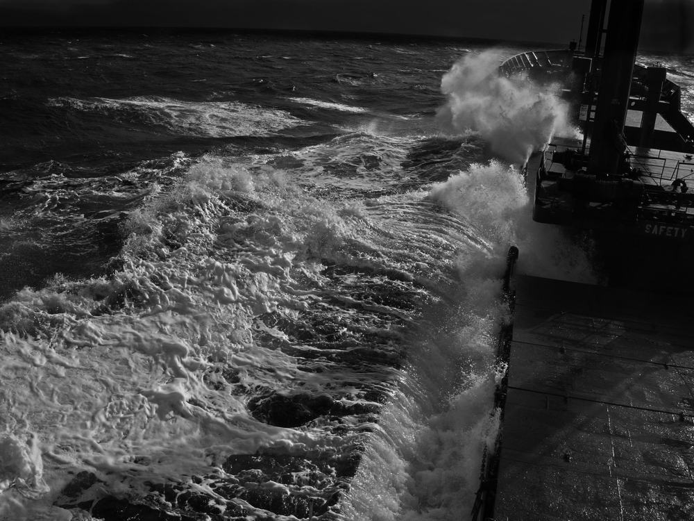 ship on rough night seas