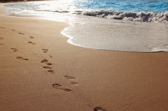 footprints in sand along surf