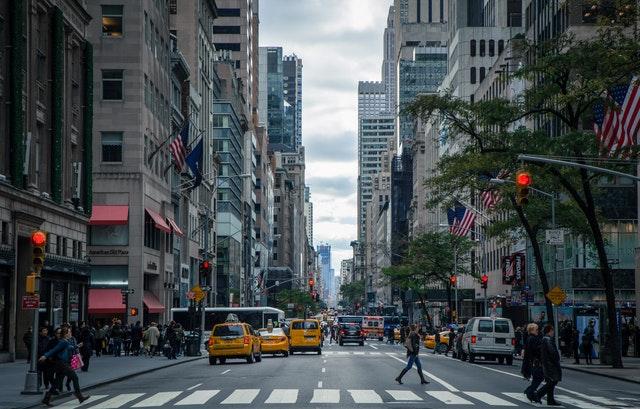 city block at street level