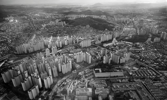 aerial view of sprawling city