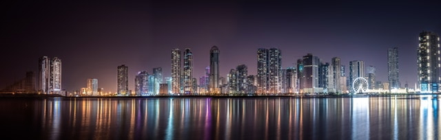 city skyline night panorama
