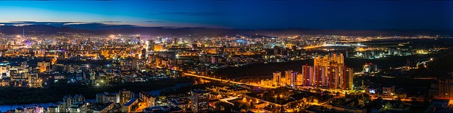 panoramic view of city at twilight