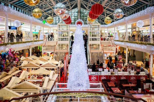 shopping mall interior at christmas