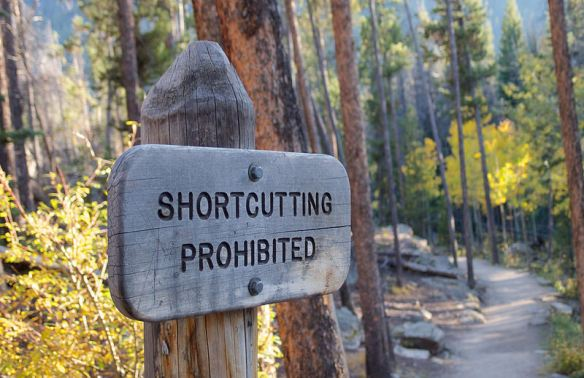 shortcutting prohibited sign