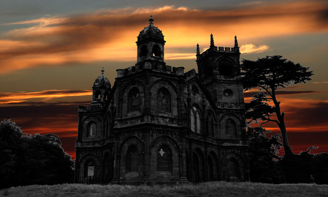 dark gothic building at sunset