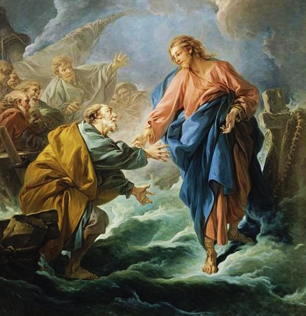 Jesus reaching out to Peter on the water