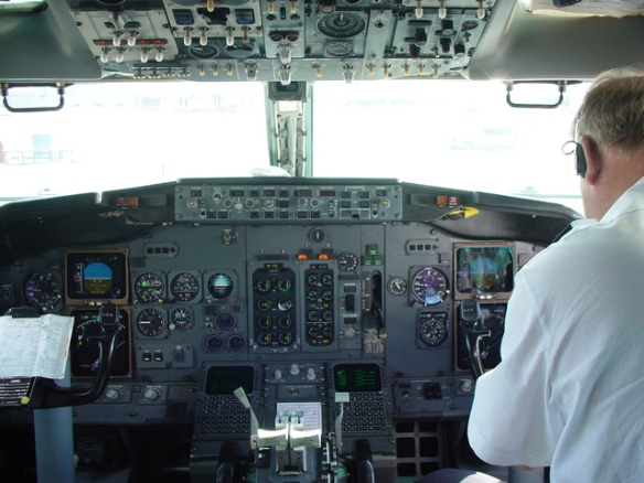 airplane cockpit with pilot