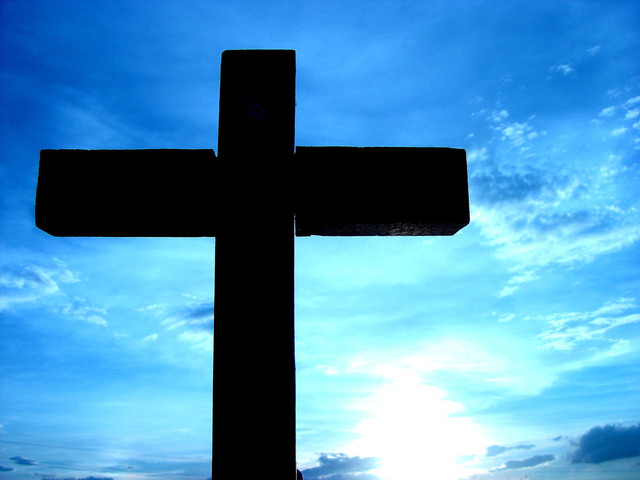 cross with blue sunset
