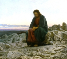 painting of man resembling Jesus sitting on rocks