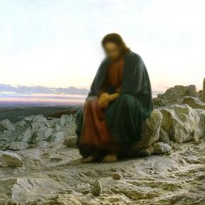 painting of man resembling Jesus sitting on rocks