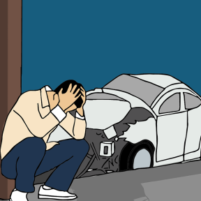 a graphic showing seated man holding head in hands with wrecked car in background