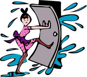 a graphic showing a woman in cleaning outfit holding door against incoming water