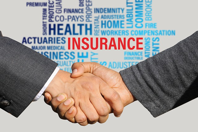 handshake in front of various insurance terms