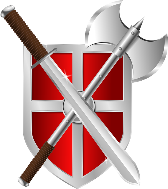 graphic of red and silver shield with sword and battle axe