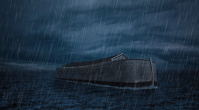 A graphical image of Noah's ark floating in water during heavy rains with dark grey sky all around.