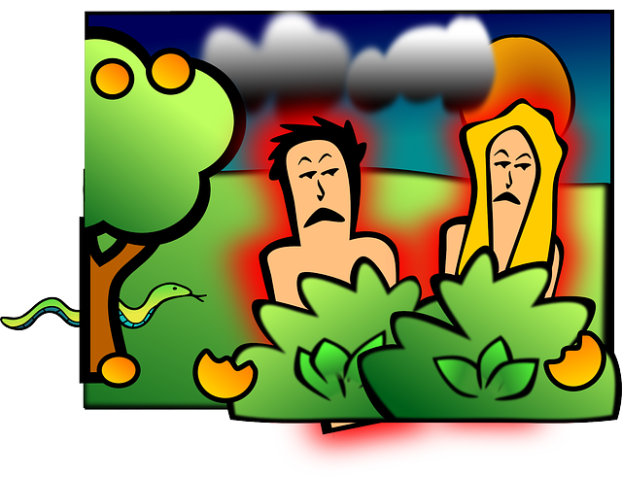 a graphic showing Adam and Eve behind bushes with a tree, snake, dark clouds and sun in background