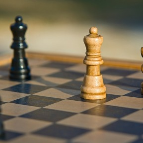 Assorted chess pieces on a board