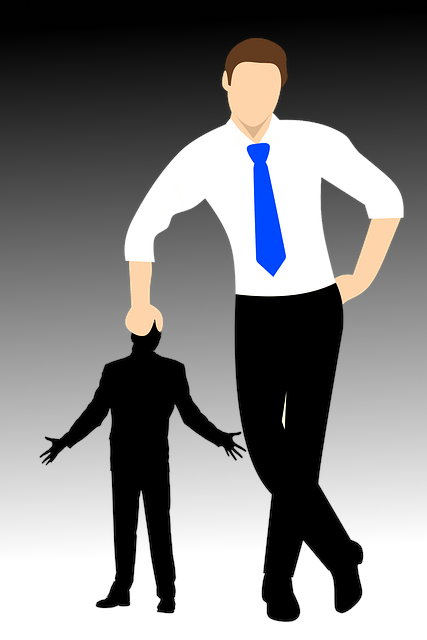 graphic image of large man with right hand leaning on head of smaller man