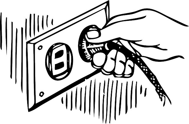 drawn image of hand holding a plug in an electrical outlet