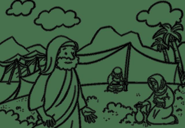 line drawing of Israelites gathering manna