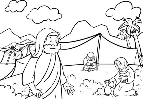 line drawing of Israelites gathering manna