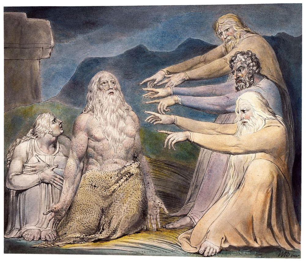 Artwork of Job and his wife with his friends pointing in accusation