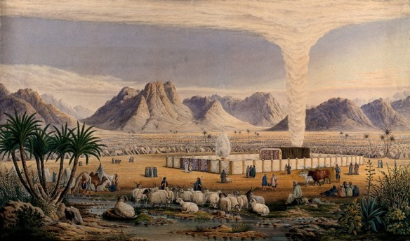 A watercolor painting of cloud over camp of Israelites in the wilderness