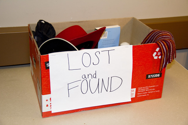 lost and found box with articles inside