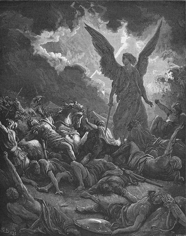 Wood cut by Gustave Dore of Sennacherib's Army is Destroyed