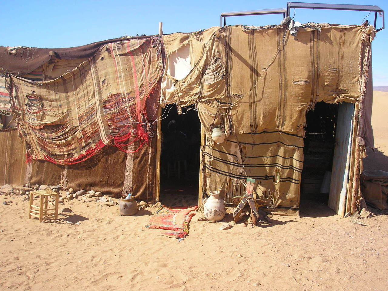 a closeup photo of a Bedouin tent in the desert