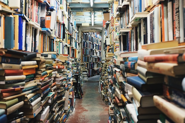 Hundreds and hundreds of books stacked and piled in shelves in a small walkway of a store