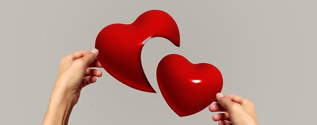 image of one hand holding a full red heart and the other holding part of a red heart