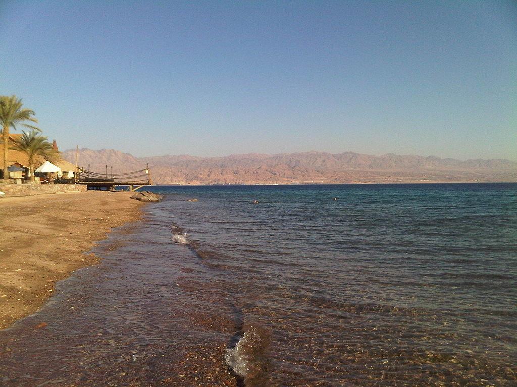 photo of red sea shoreline