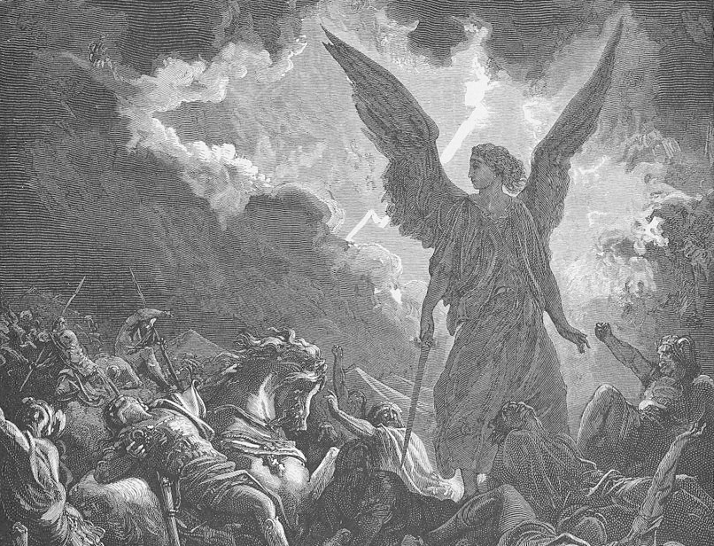 A print from a woodcut of Sennacherib's army destroyed by an angel