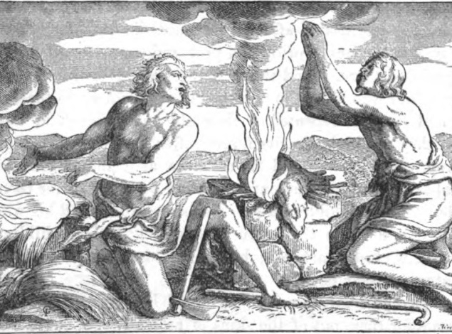 A black and white print of Cain and Abel offering their sacrifices to God