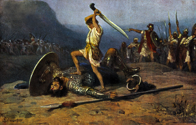 A painting of David about to cut off the head of Goliath by Robert Leinweber