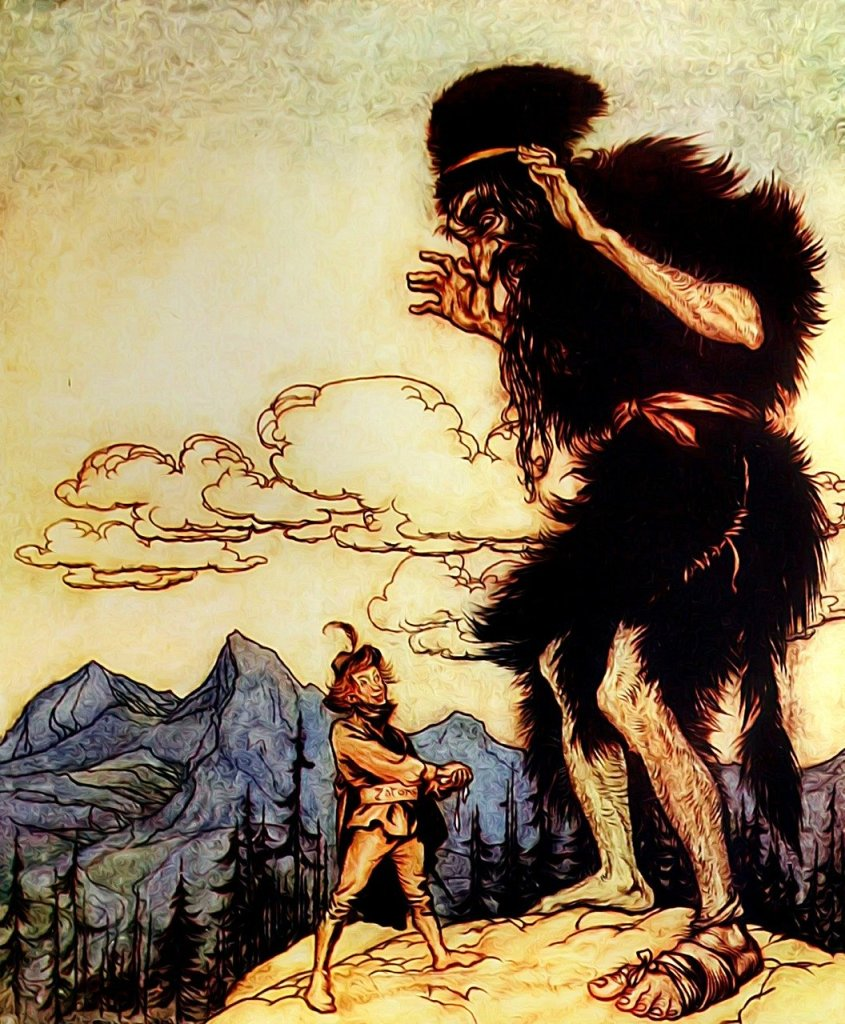 Old drawing of man about to attack giant with mountains and clouds in the background