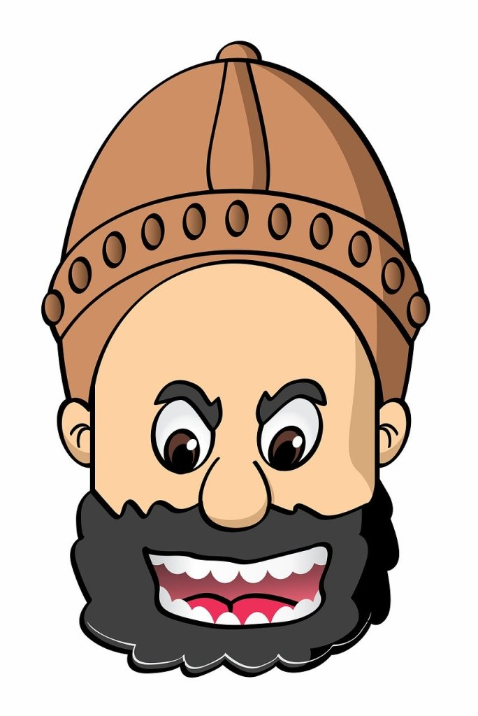 Comical illustration of a giant warrior's head wearing a tan helmet with mouth open in exclamation