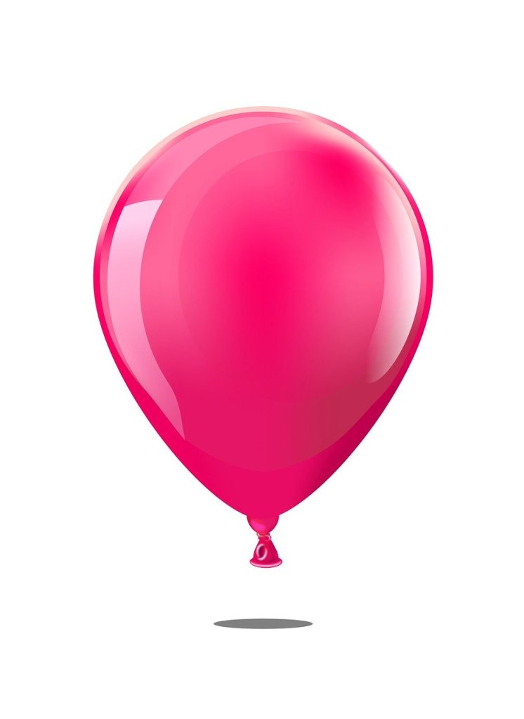 A graphical image of a light red balloon hovering just above a flat surface