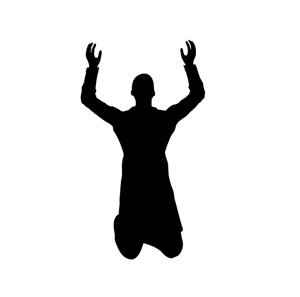 Graphical silhouette of person kneeling with arms upraised