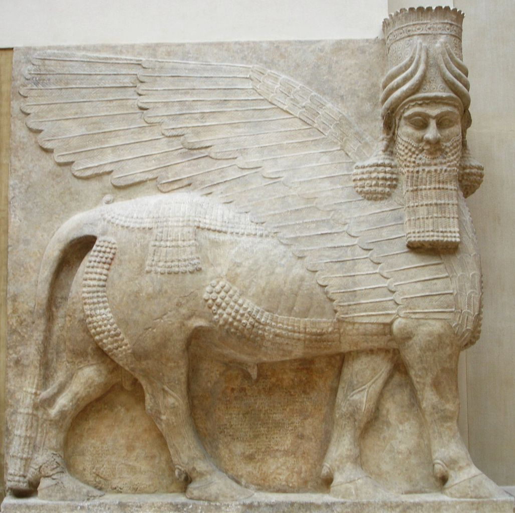 Sculpture of human headed winged bull of the Assyrian religion