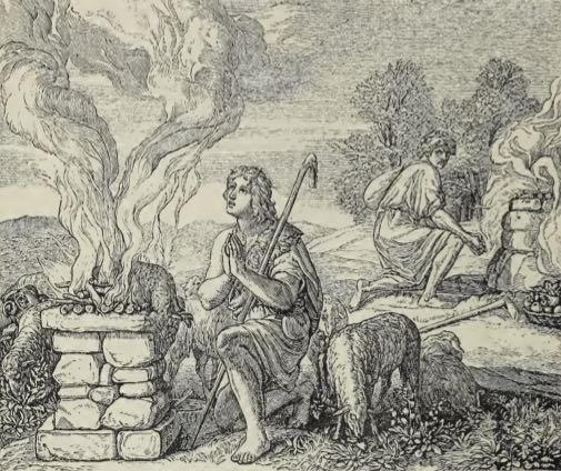 Woodcut of Cain and Abel offering up sacrifices