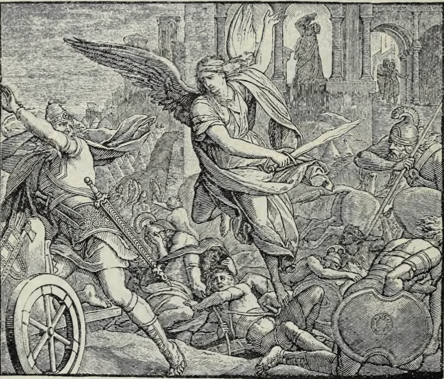 black and white lithograph of an angel destroying the Assyrian army